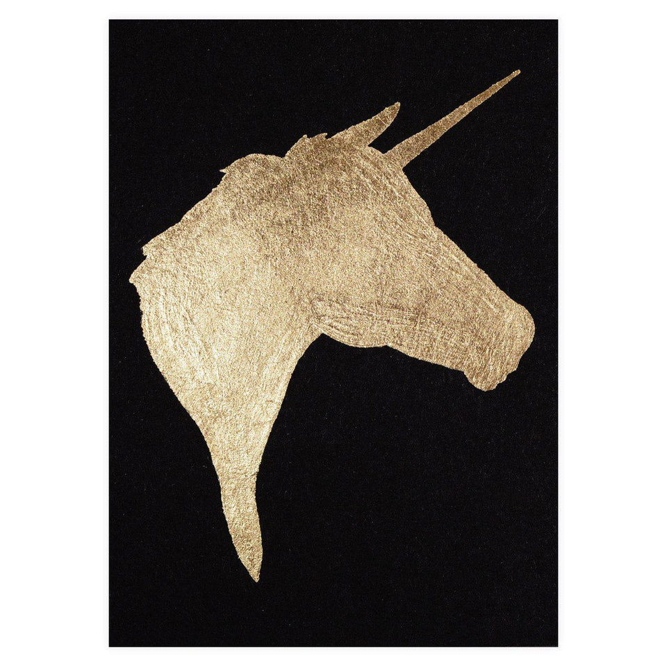 Catherine Greenup Unicorn Black Gold Leaf Greeting Card