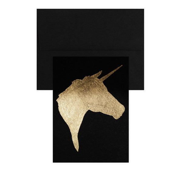 Unicorn Black Gold Leaf Greeting Card By Catherine Greenup - 1