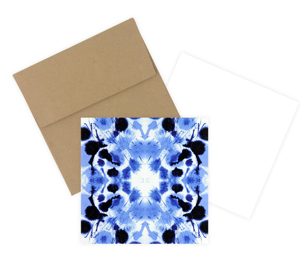 Indigo Tie-Dye Square Note Card Set By GREERChicago - 2