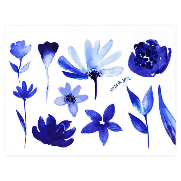 Indigo Watercolor Florals Folded Thank You Card By GREERChicago