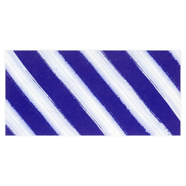 Indigo Watercolor Stripes Folded Note Card By GREERChicago