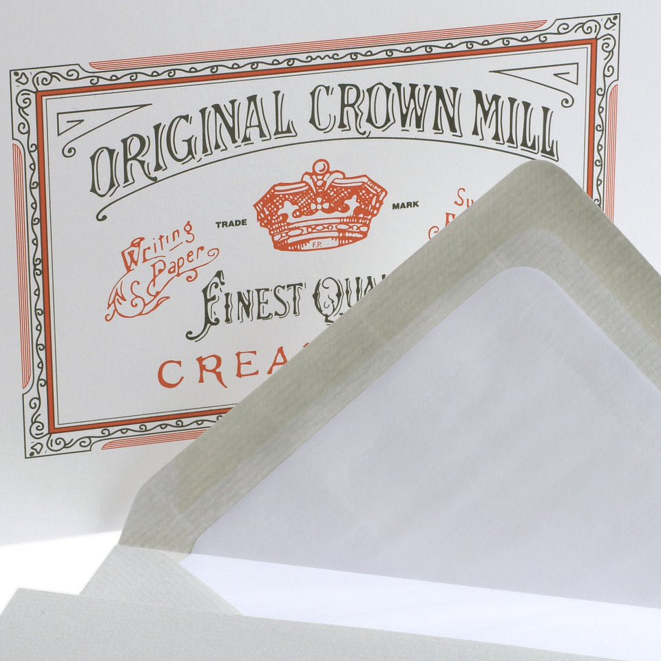 Crown Mill Classic Laid Note Card Presentation Box Grey