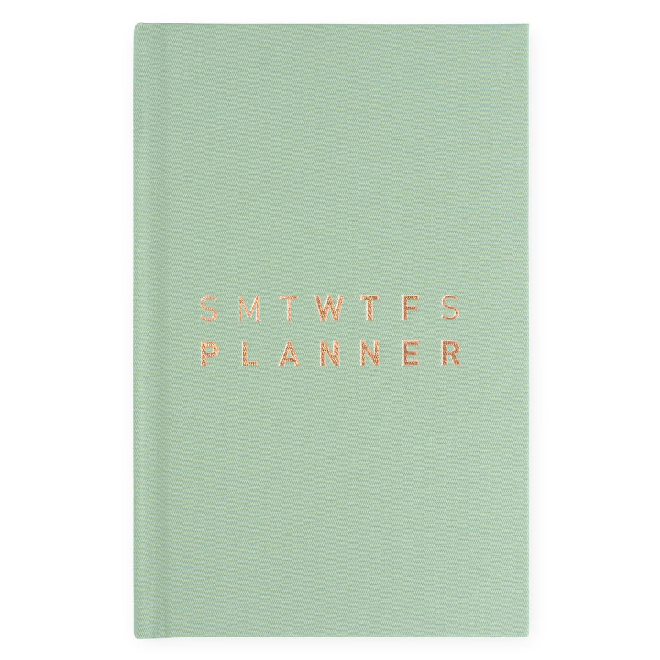 Hadron Epoch LA 2020 17-Month SMTWTFS Linen Hardcover Monthly/Weekly Planner | 3 Cover Options Crisp Sage