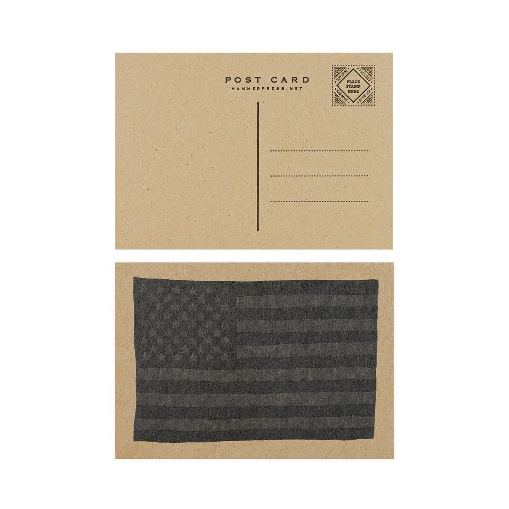 Black USA Flag Postcard By Hammerpress - 2