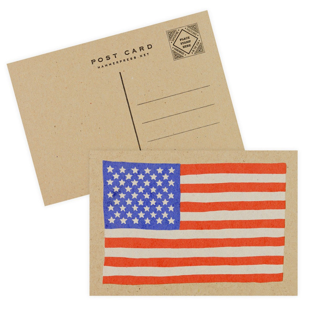 Red White Blue USA Flag Postcard By Hammerpress - 2