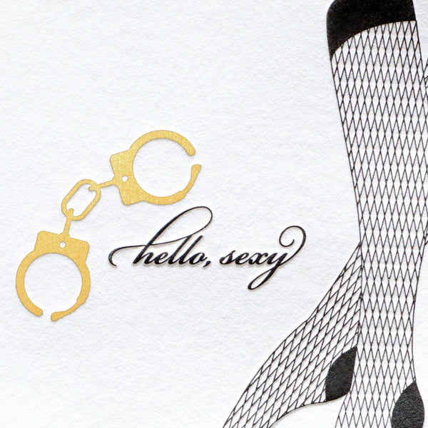 Dee & Lala Handcuffs & Fishnets Card - GREER Chicago Online Stationery Shop