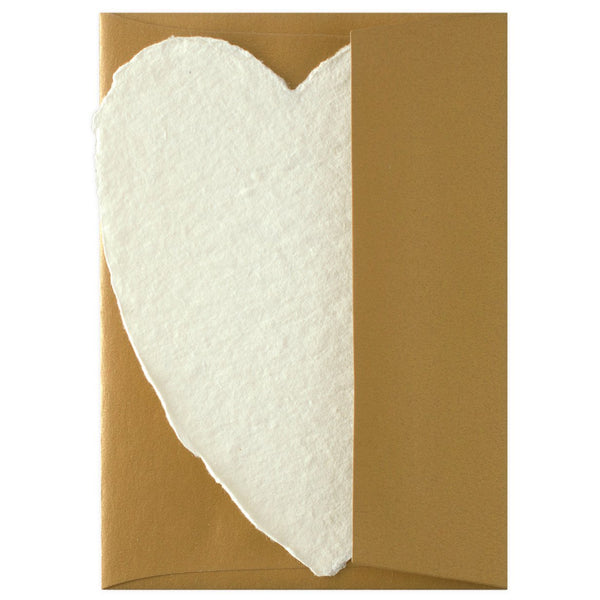 Handmade Paper Hearts Cream Small By Oblation Papers & Press - 1