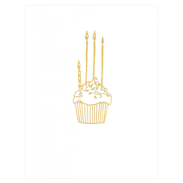 Hartland Brooklyn Gold Foil Cupcake Birthday Card - GREER Chicago Online Stationery Shop