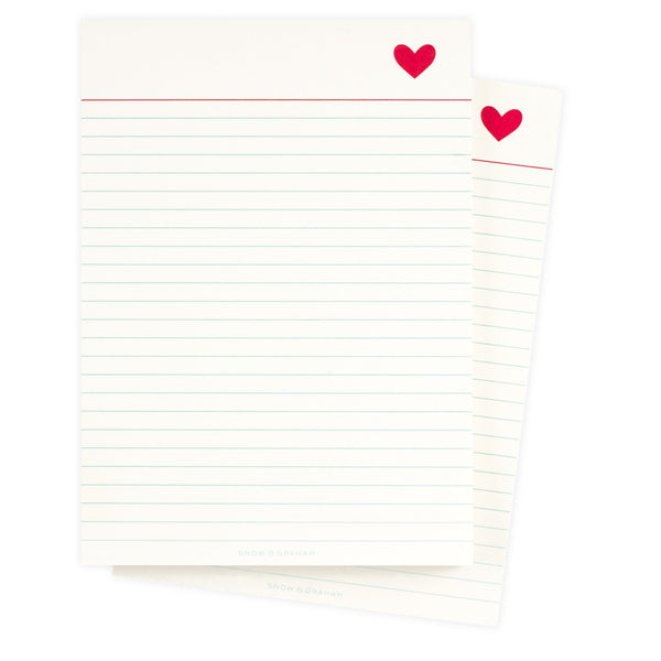 Snow & Graham Heart Notepad - GREER Chicago Online Stationery Shop