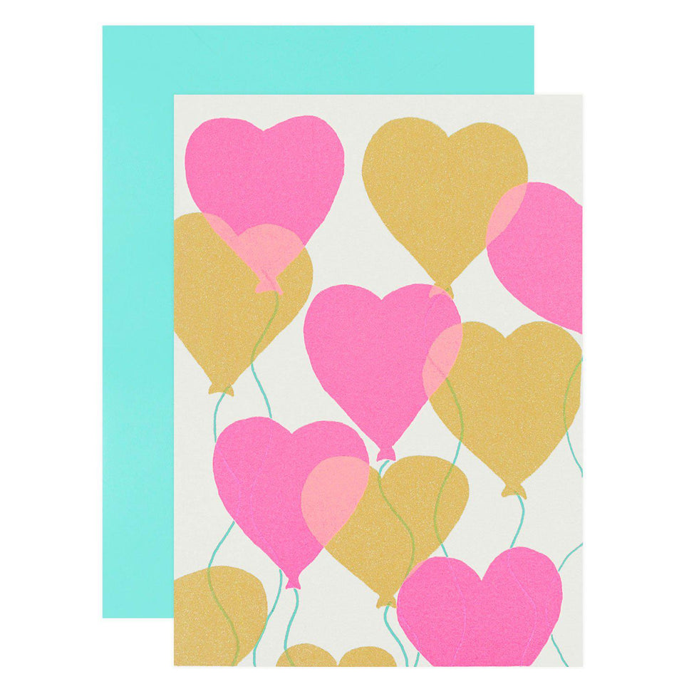 Gold Teeth Brooklyn Heart Balloons Greeting Card