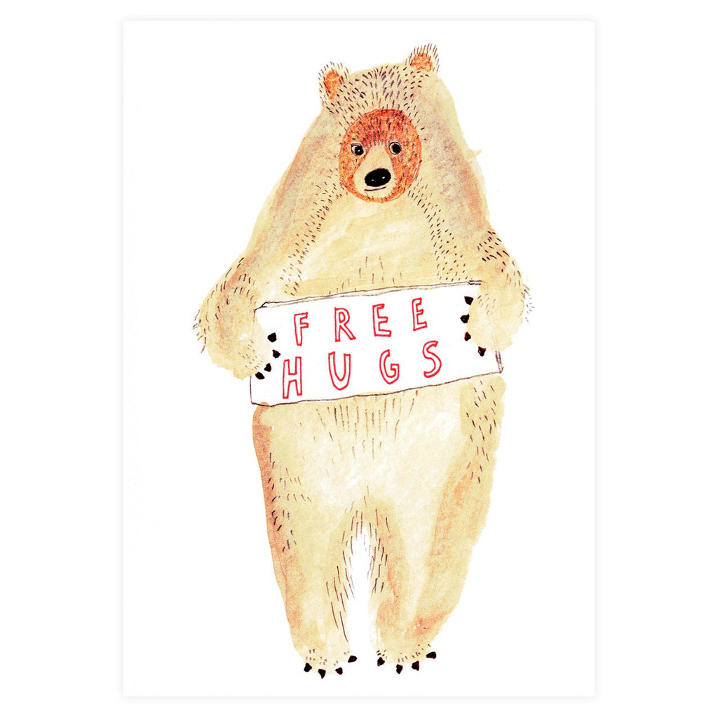 Free Hugs Bear Greeting Card By Heather More - 1