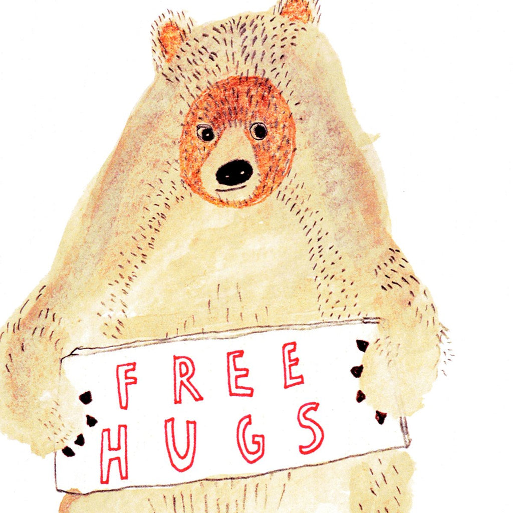 Free Hugs Bear Greeting Card By Heather More - 2