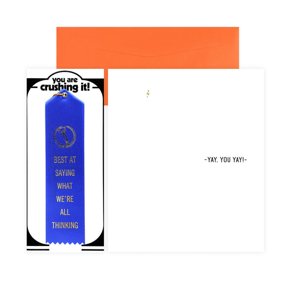 Best At Saying What We're All Thinking Award Ribbon & Greeting Card By The Heirloom Tomato's - 1