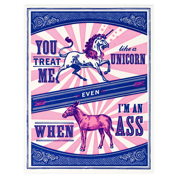 Hello Lucky Unicorn & Ass Love Greeting Card - GREER Chicago Online Stationery Shop