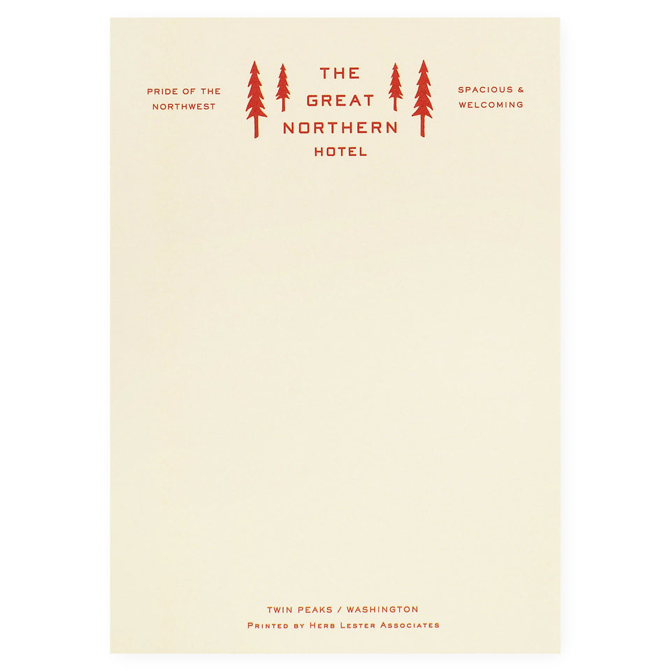 Herb Lester The Great Northern Hotel Twin Peaks Fictional Hotel Notepad Set of 3 or Single