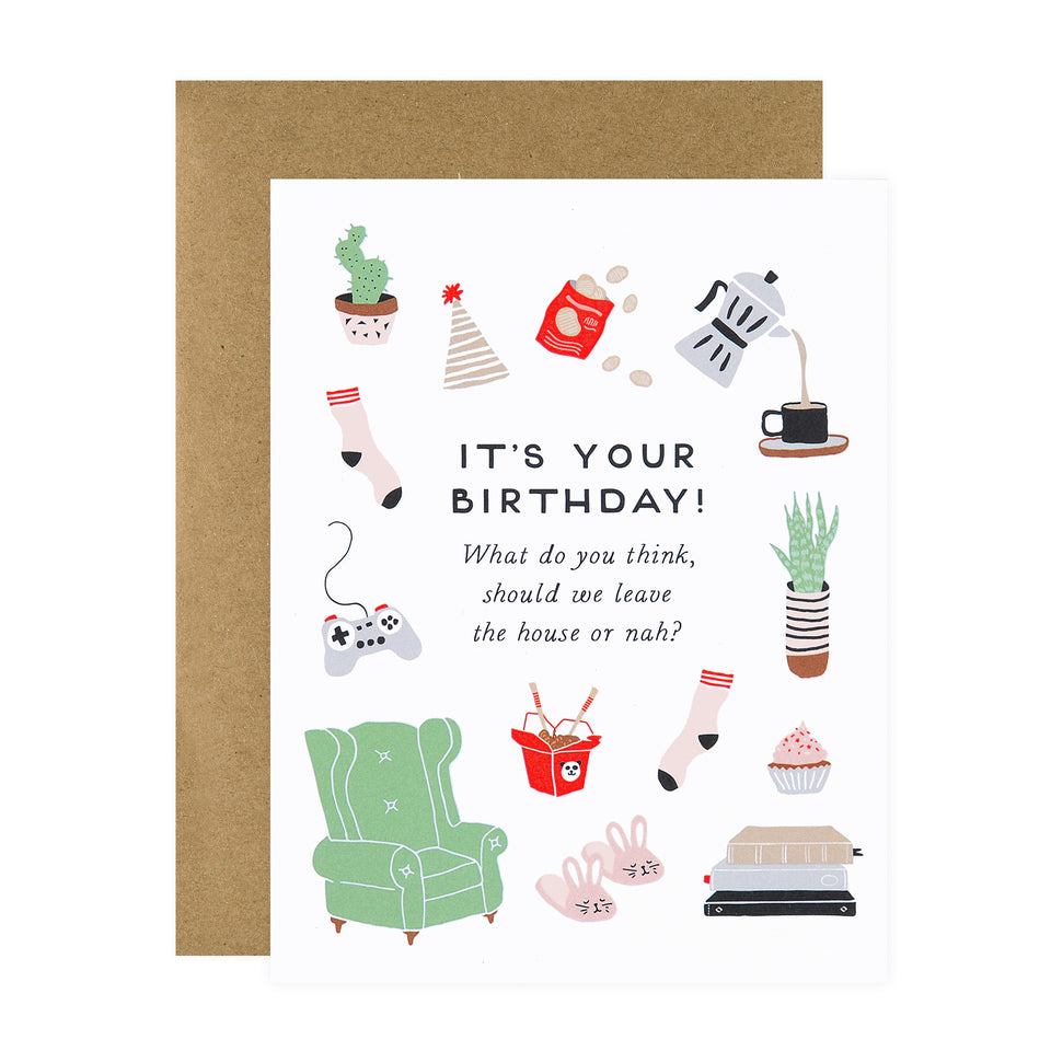 Party Of One Paper Birthday Homebody Greeting Card