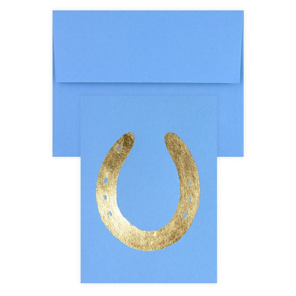 Horseshoe Gold Leaf Greeting Card By Catherine Greenup - 1