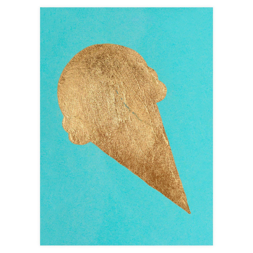 Ice Cream Gold Leaf Greeting Card By Catherine Greenup - 1