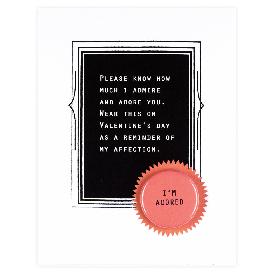 Regional Assembly of Text I'm Adored Button Card