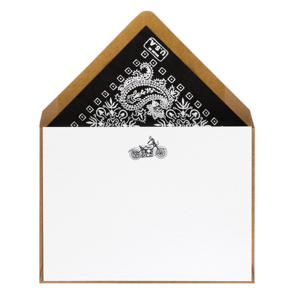Indian Motorcycle Company Engraved Flat Note Card By Terrapin Stationers - 1