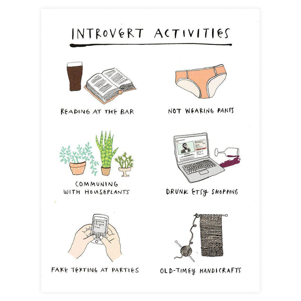 Introvert Activities Greeting Card - GREER Chicago Online Stationery