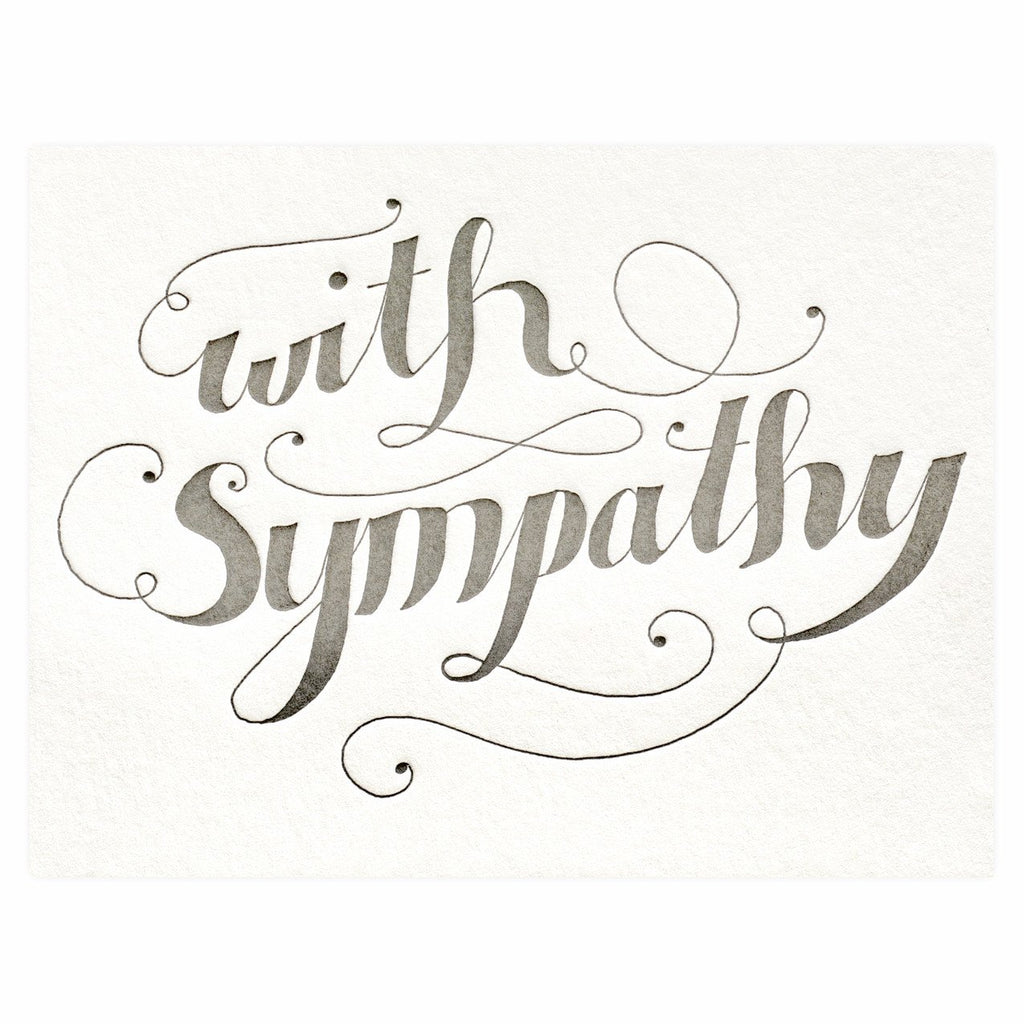 Calligraphy With Sympathy Card By Bison Bookbinding & Letterpress