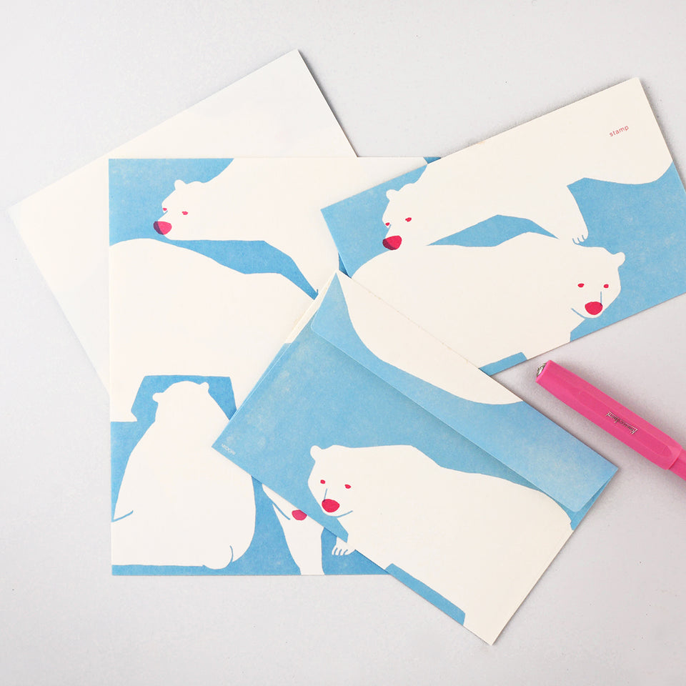 Midori Kimagure Polar Bear Letter Pad and Envelopes