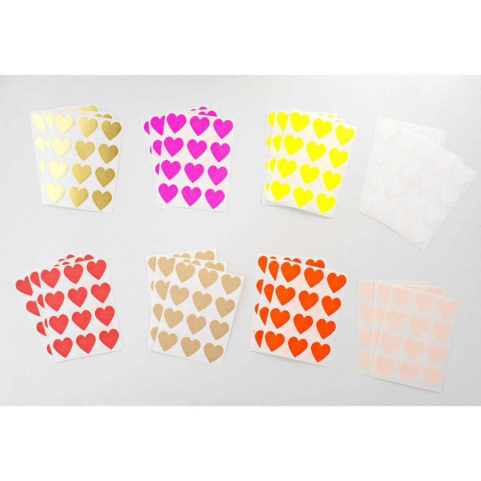 Knot & Bow Heart Stickers Set of 36 | 8 Colors
