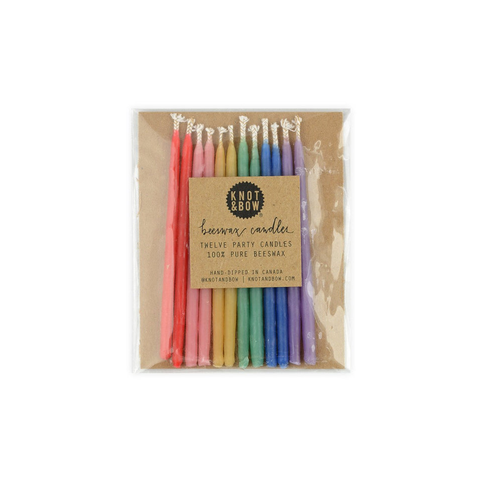 Knot & Bow Hand-Dipped Beeswax Birthday Candles Rainbow