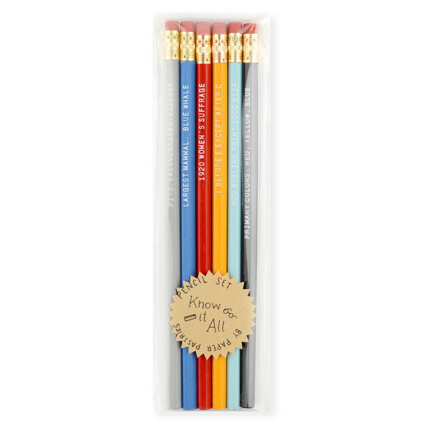 Know It All Pencil Set By Paper Pastries
