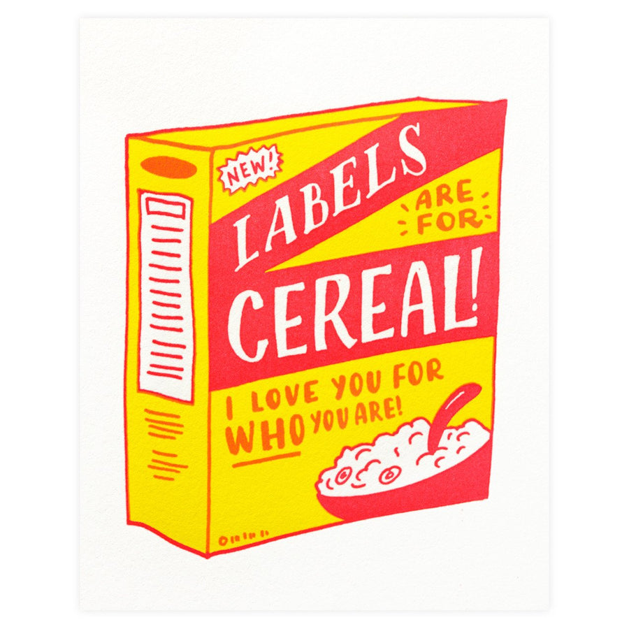 Ladyfingers Letterpress Labels Are For Cereal Greeting Card - GREER Chicago Online Stationery Shop