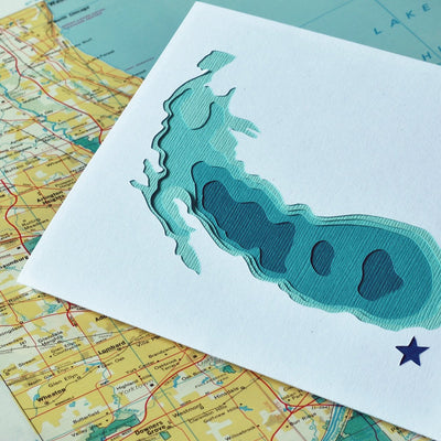 Crafterall Chicago on Lake Michigan Handcut Topographical Landscape Card Aqua
