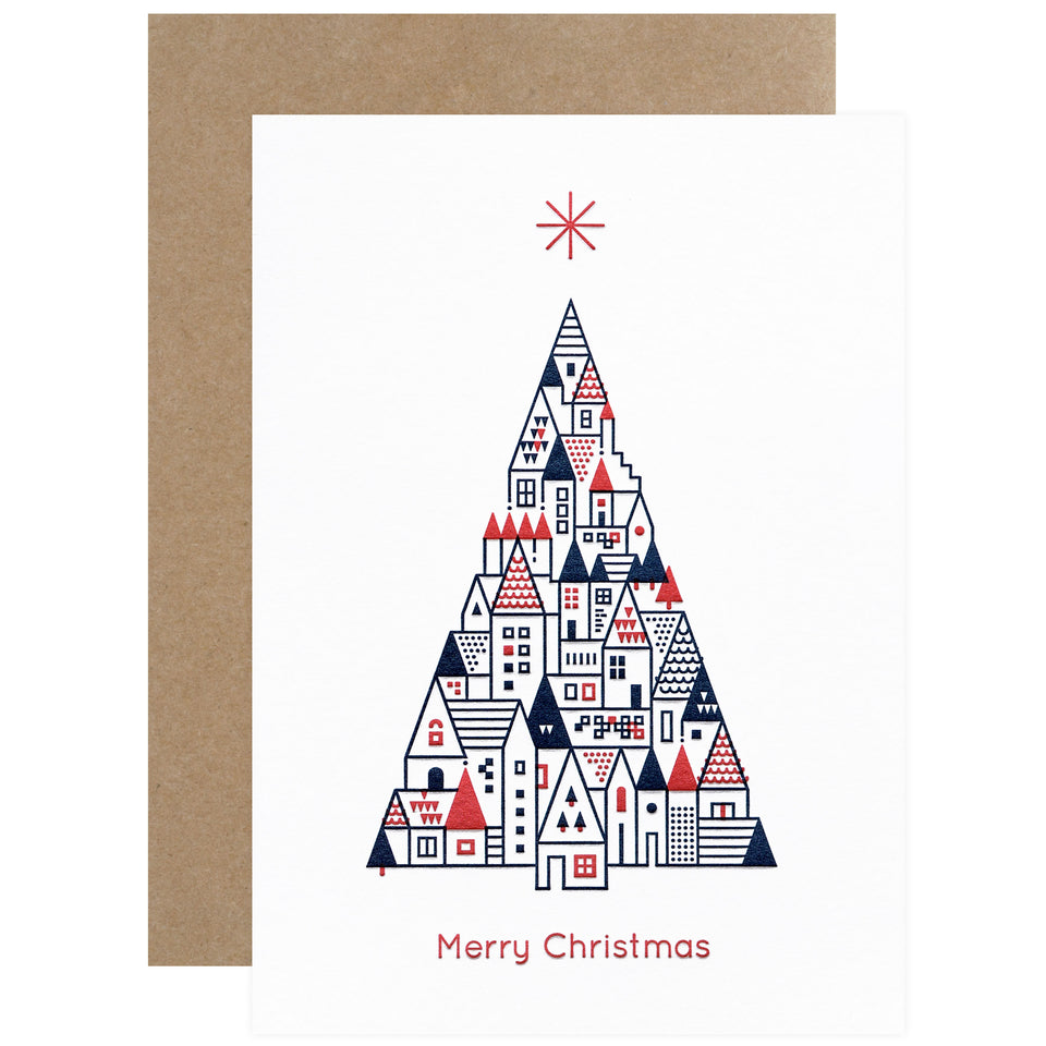 City Works Letterpress Christmas Greeting Card