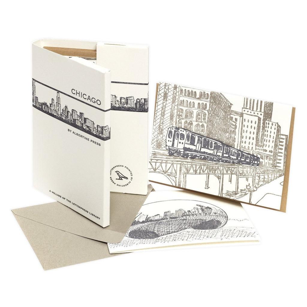 Little Letterpress Library Chicago Note Card Set By Albertine Press