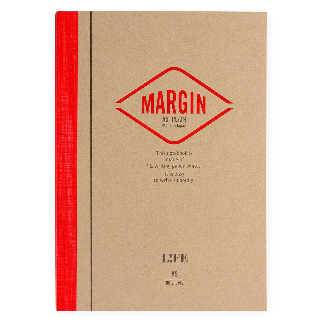 LIFE Stationery Margin A5 Notebook | Plain, Section or Ruled plain