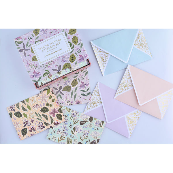Lulie Wallace Falling Flowers Folded Note Cards Boxed - GREER Chicago Online Stationery Shop