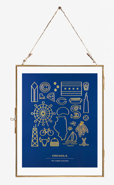 The Lumber Exchange Navy & Gold Foil Chicago Print - GREER Chicago Online Stationery Shop