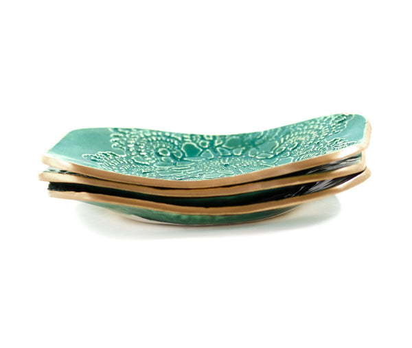 Malachite Ceramic Soap Trinket Dish By Robert Gordon - 1