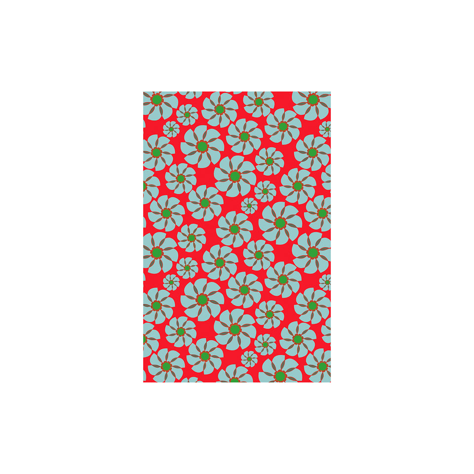 Shunkoen Mamimu Japanese Classic Motifs Mini Memo Notebook | Six Designs Blue Flowers on Red