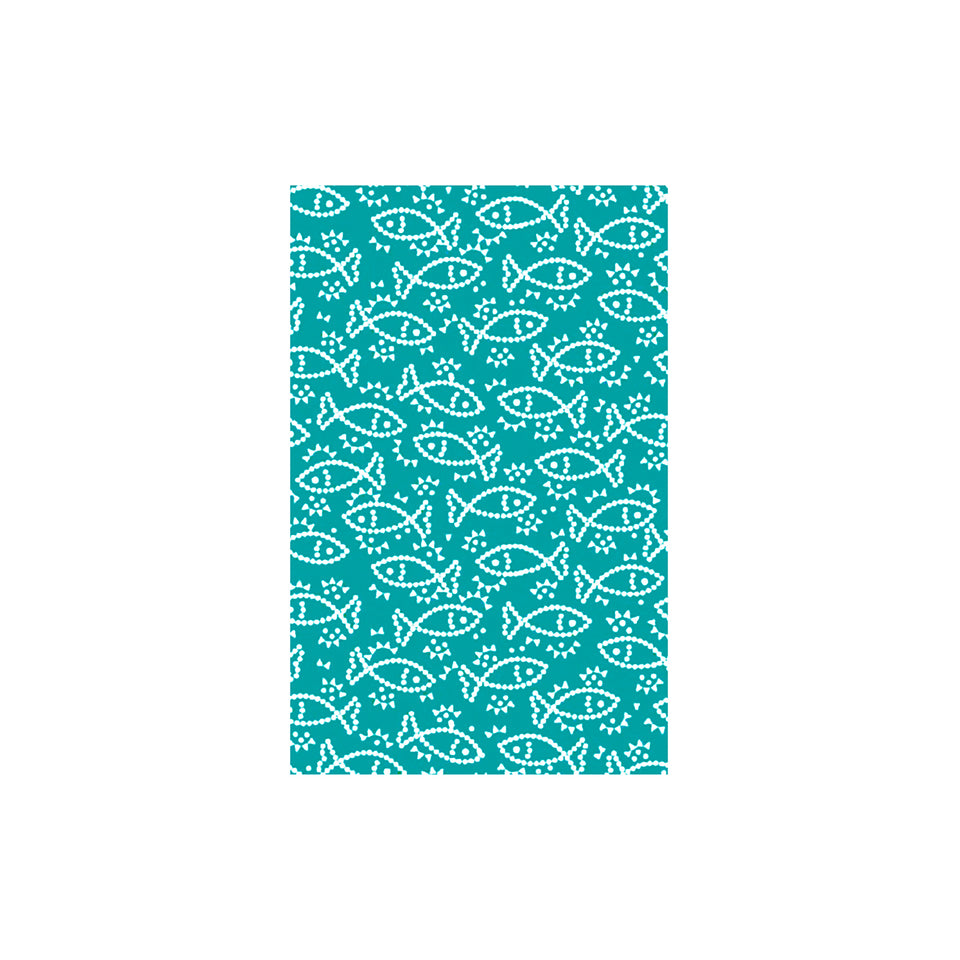 Shunkoen Mamimu Japanese Classic Motifs Mini Memo Notebook | Six Designs Fish on Turquoise