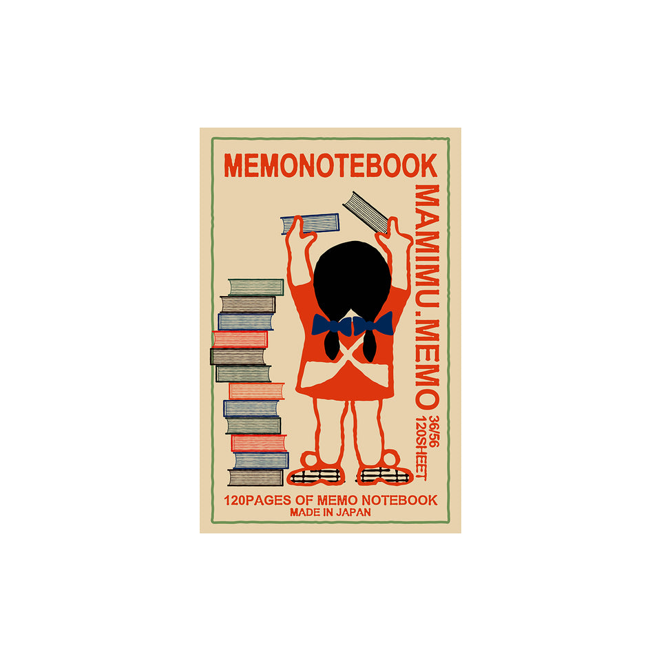 Shunkoen Mamimu European Vintage Matchbox Design Mini Memo Notebook | Eleven Designs Girl with Pile of Books