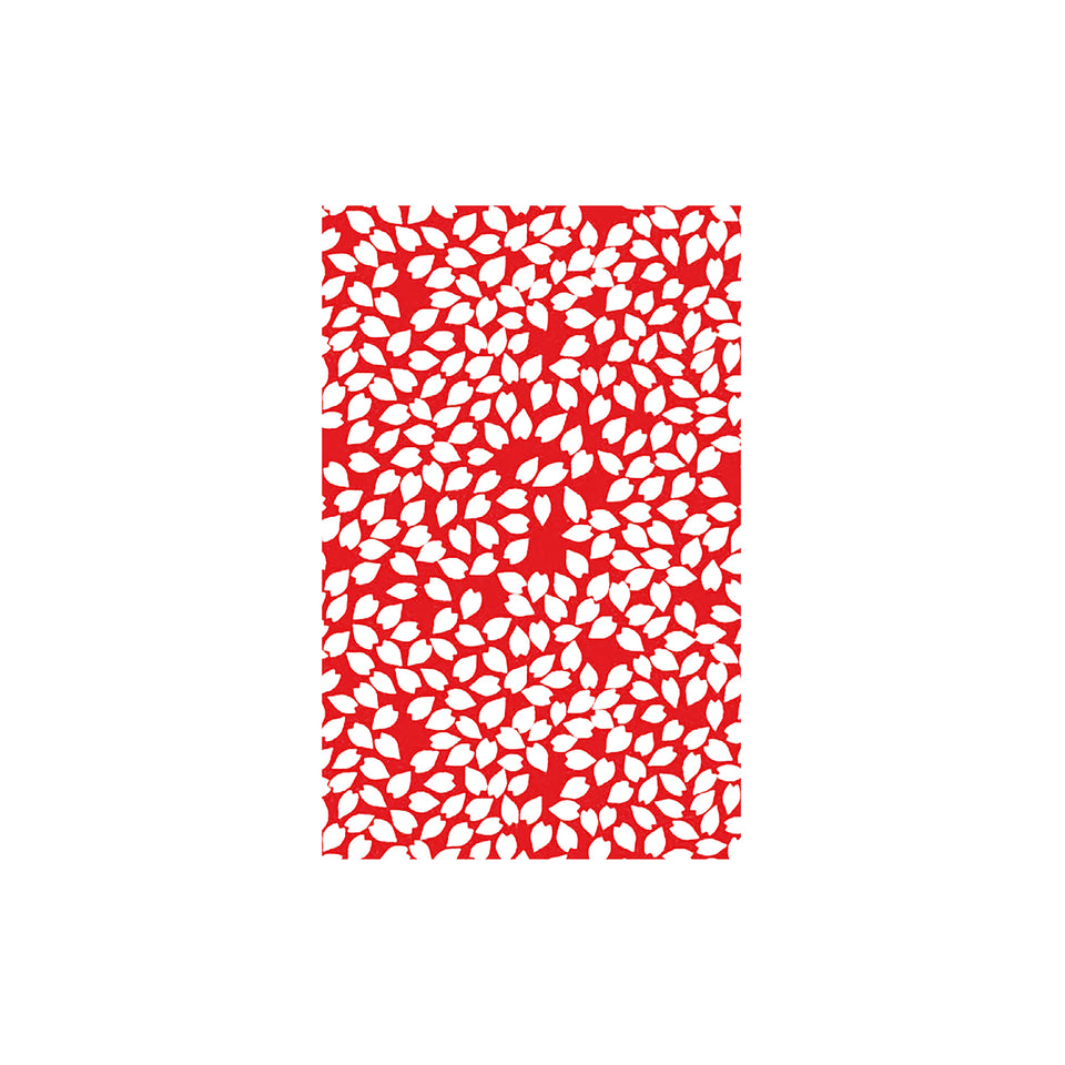 Shunkoen Mamimu Japanese Classic Motifs Mini Memo Notebook | Six Designs Random White Leaves on Red