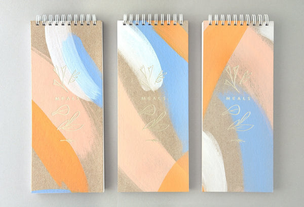 Moglea Hand-Painted Meal Planner Peach + Blue - GREER Chicago Online Stationery Shop