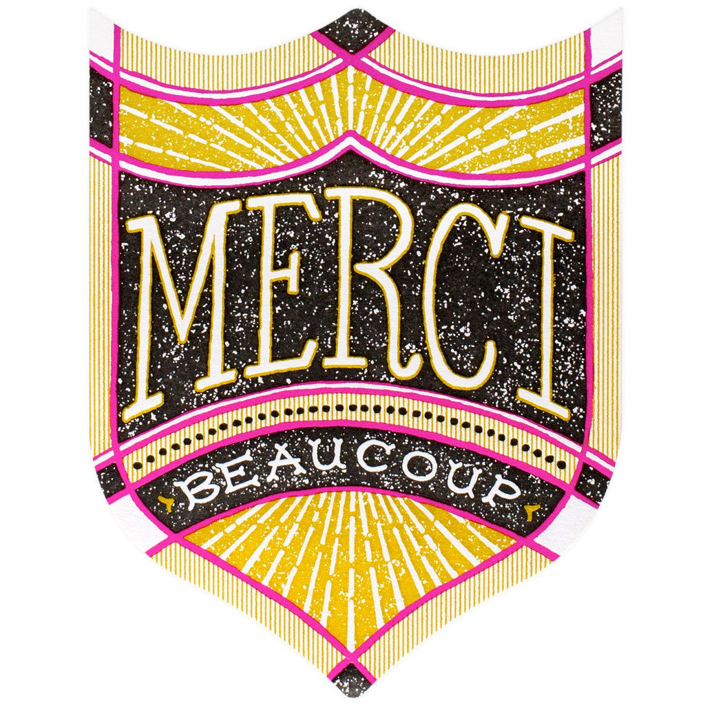 Merci Badge Folded Thank You Card - GREER Chicago Online Stationery