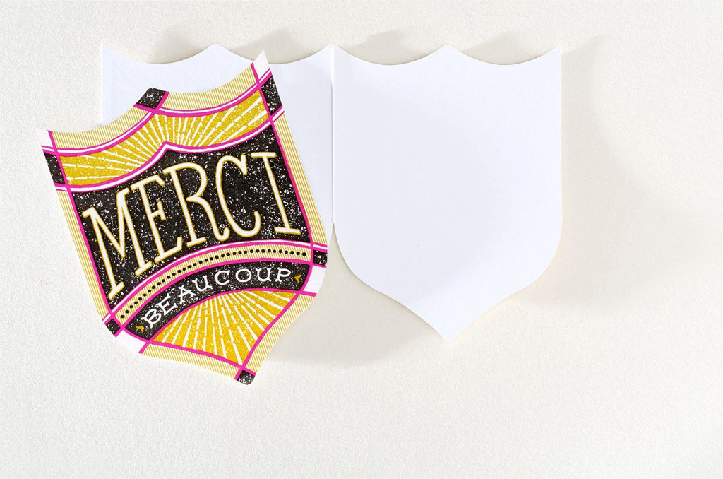 Merci Badge Folded Thank You Card By Hammerpress - 2