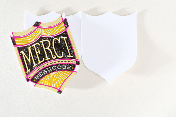 Merci Badge Folded Thank You Card By Hammerpress - 1