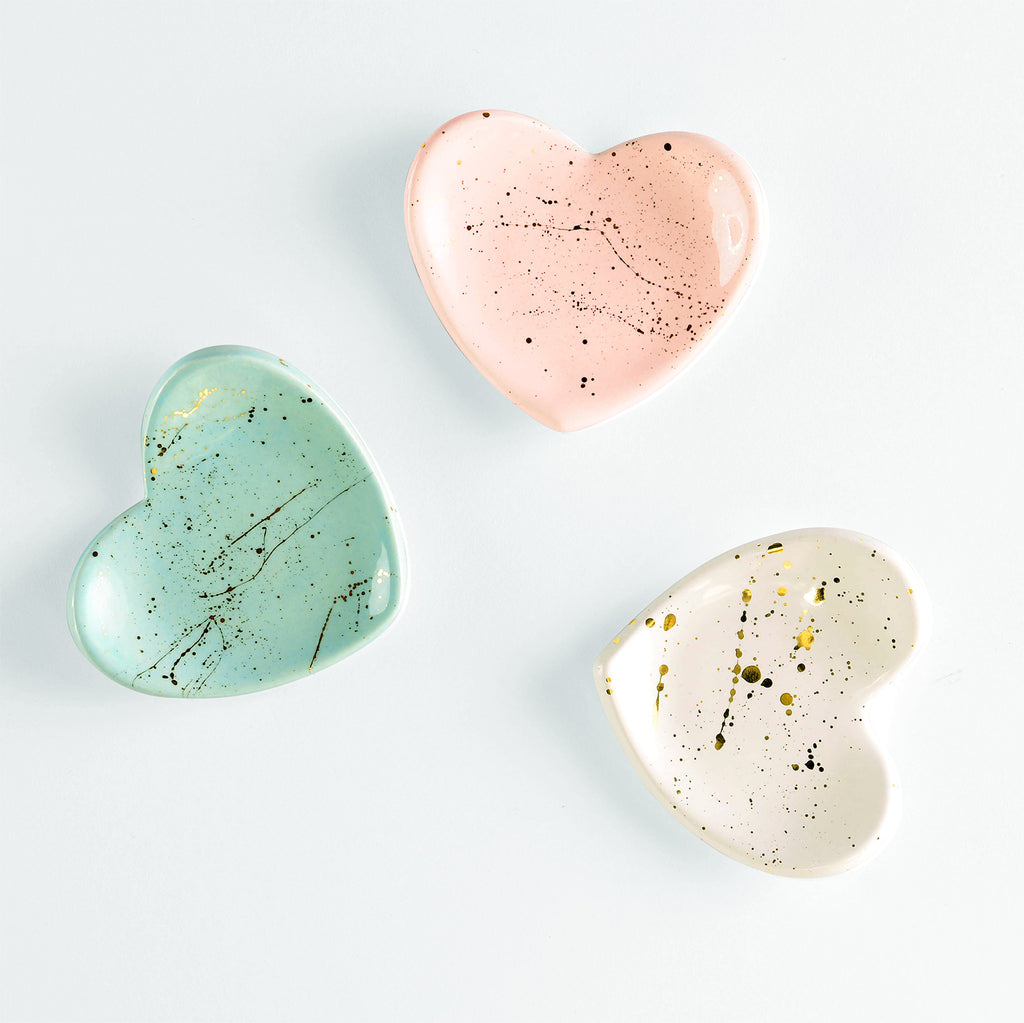 Modern Mud Mini Heart Gold Splatter Ring Dish | Ocean Blue, Blush or White
