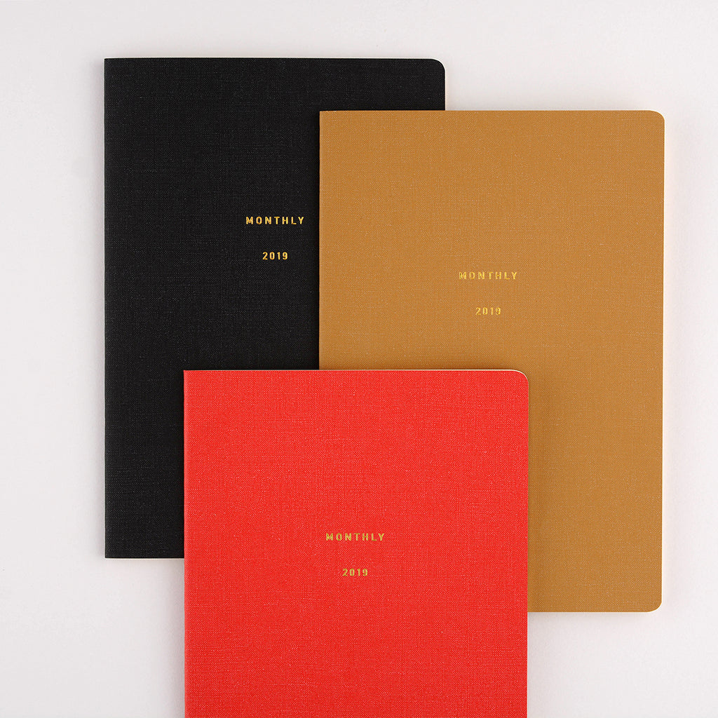 Midori Minimal Diary Monthly | Camel, Black or Red