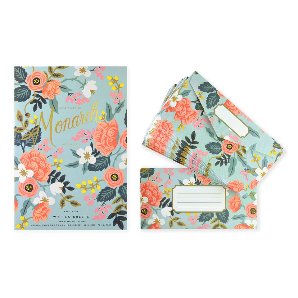 Rifle Paper Co. Mint Birch Monarch Writing Pad and Envelopes Pad and Envelopes