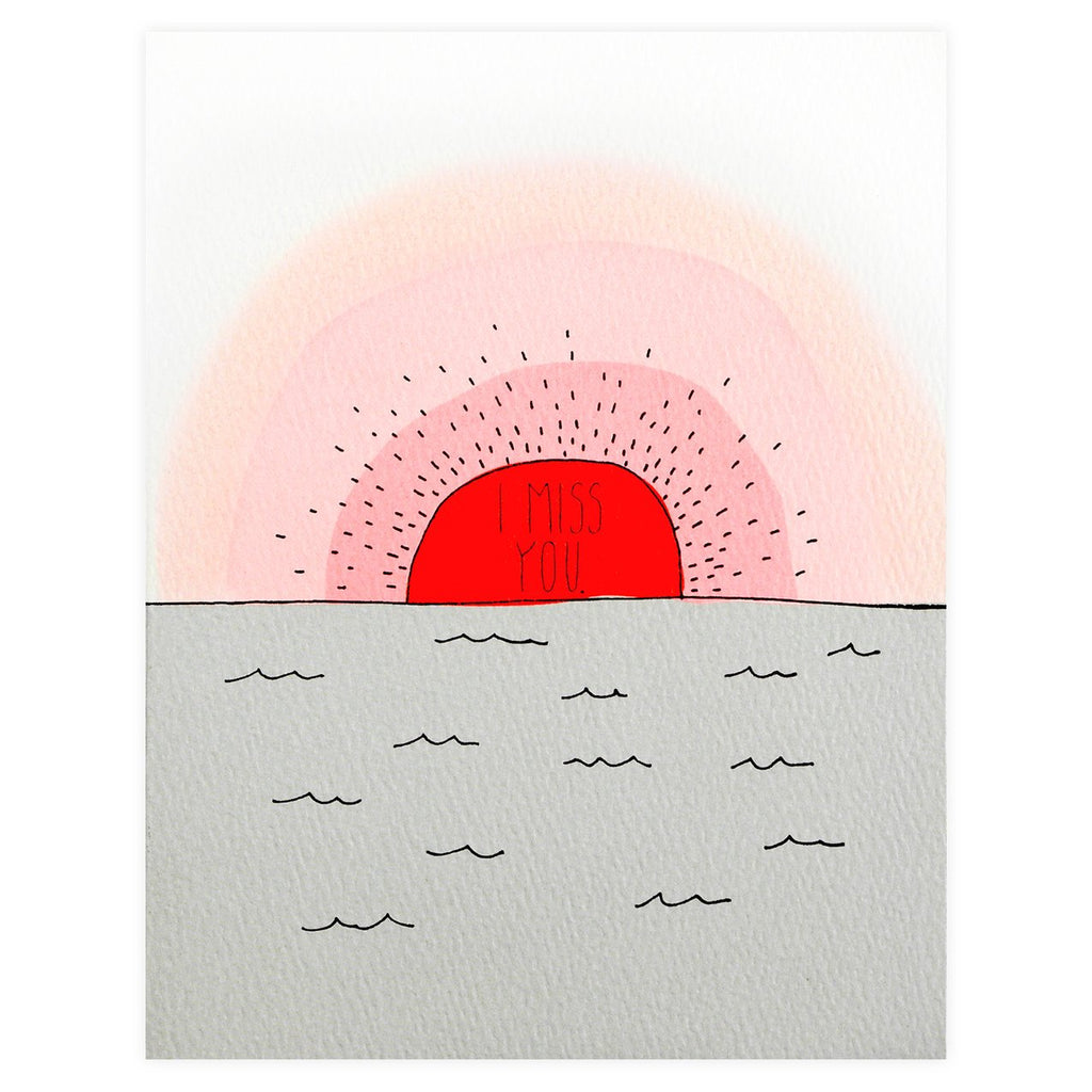 Miss You Sunset Greeting Card - GREER Chicago Online Stationery